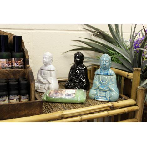Kominek Do Olejków Ceramiczny Siedzący Budda - Czarny