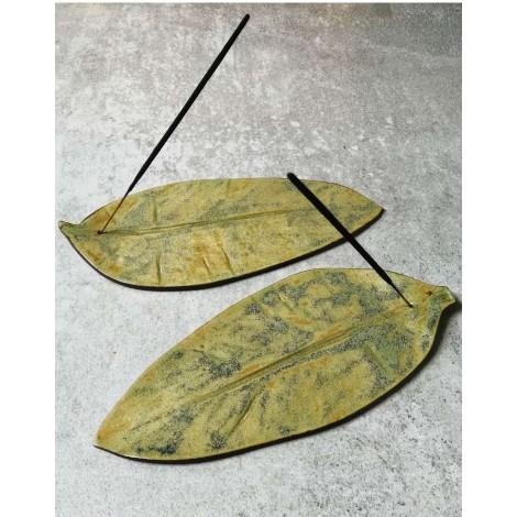 Ręcznie Robiona Podstawka Pod Kadzidełka - Leaf - Oliwkowa