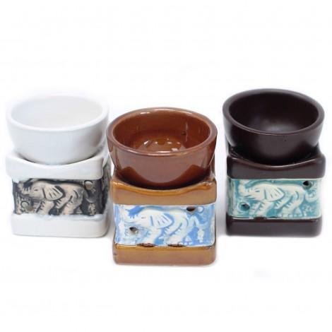 Kominek Do Olejków Ceramiczny ELEPHANT - Ciemno - Brązowy