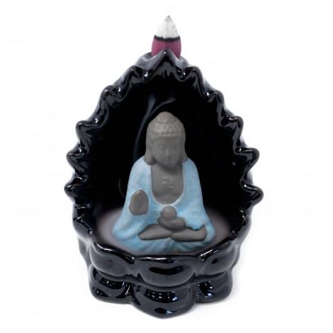 Kominek Pod Kadzidełka Black Flow - Siedzący Budda + Oświetlenie LED
