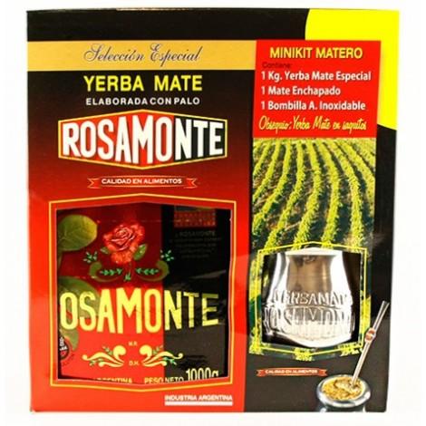 Zestaw  Rosamonte Yerba Mate - Oryginalny 1kg + matero + bombilla