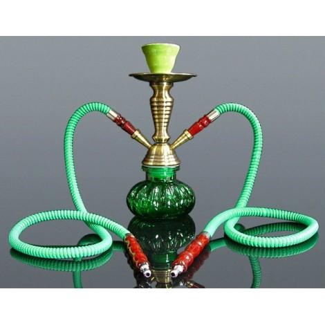 Shisha Pączek Premium 2 węże -  28 cm - Zielona