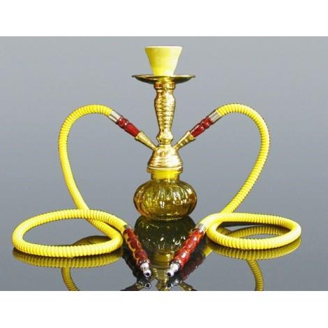 Shisha Pączek Premium 2 węże -  28 cm - Żółta