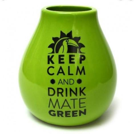 Matero do Yerba Mate Ceramiczne Keep Calm Zielone- 350 ml