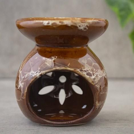 Kominek Do Olejków Ceramiczny Flower - Brązowy