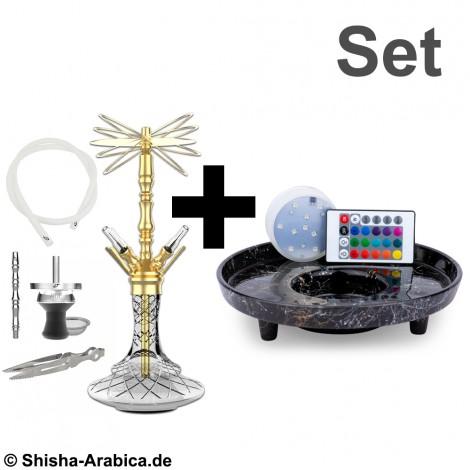 Shisha ARYF Gloria 4 - Gold Handcut + Szklana Podstawka LED PB  66cm