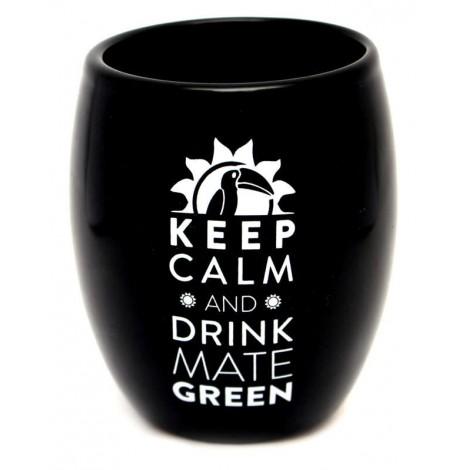 Matero Ceramiczne Keep Calm Oval 200 ml - Czarne