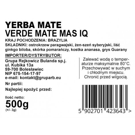 Yerba Mate - VERDE MATE Mas IQ 0,5kg