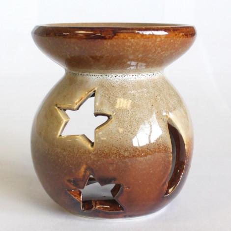 Kominek Do Olejków Ceramiczny Księżyc & Gwiazdy - Brązowy & Kremowy