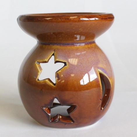 Kominek Do Olejków Ceramiczny Księżyc & Gwiazdy - Brązowy & Niebieski