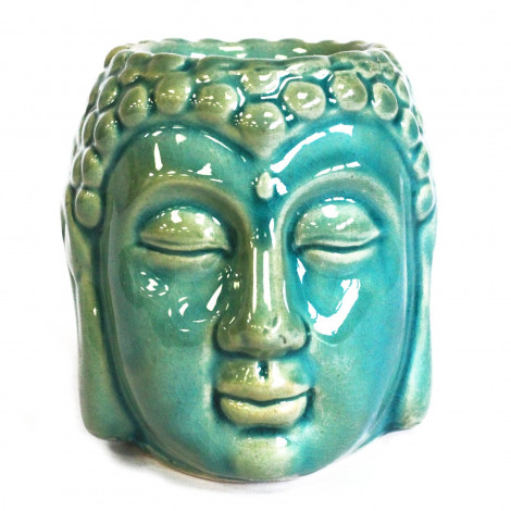 Kominek Do Olejków Ceramiczny Głowa Buddy - Niebieski